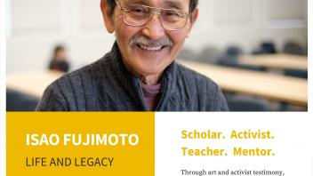 "Promotional flyer for ""Isao Fujimoto: Life and Legacy"" opening event"