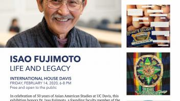 "Promotional flyer for ""Isao Fujimoto: Life and Legacy"" Davis Downtown ArtAbout event"